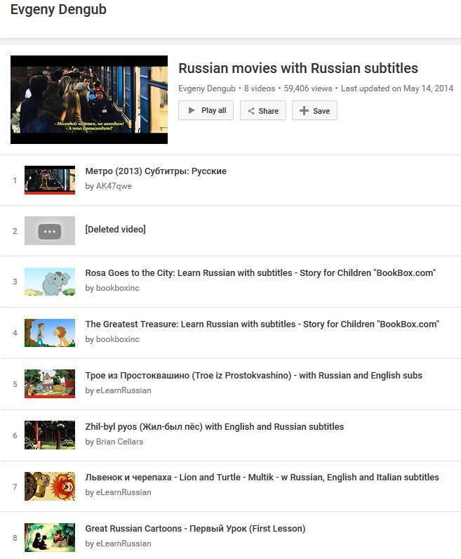 Screen of Evgeny Dengub's youtube channel of online Russian cartoons with Russian, English and Italian subtitles.